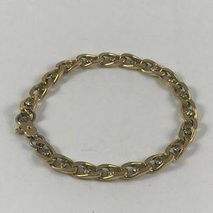 Vintage Gold Tone and Faux Diamond Bracelet.